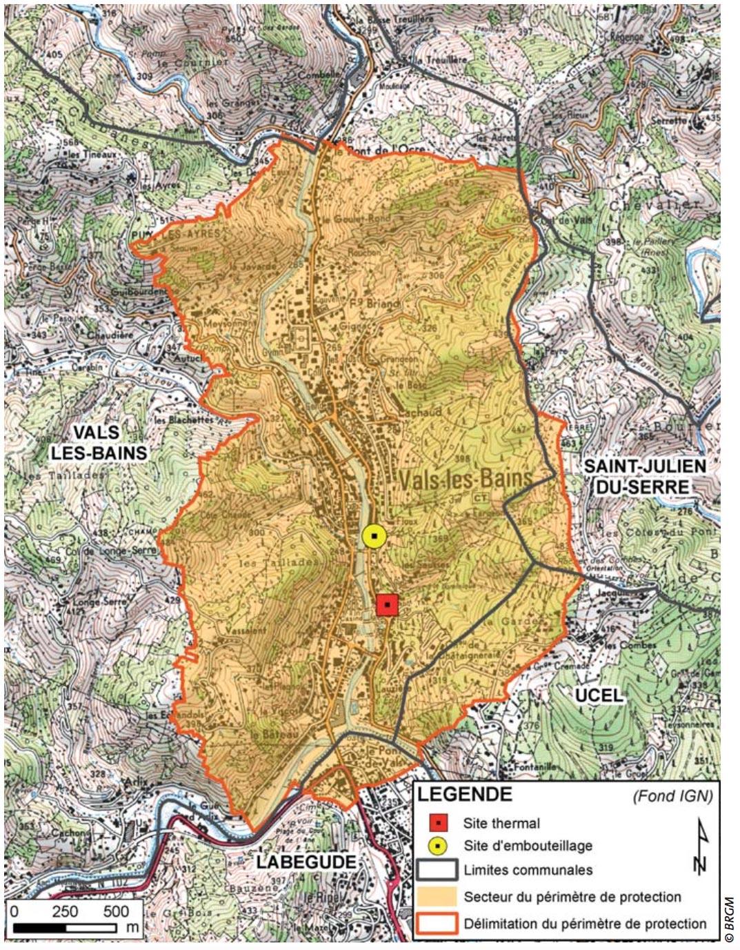 Secteur du périmètre de protection du gisement d'eau minérale et thermale de Vals-les-Bains