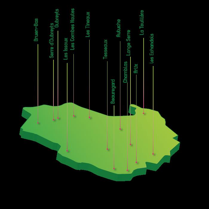 Carte hameaux Vals-les-Bains